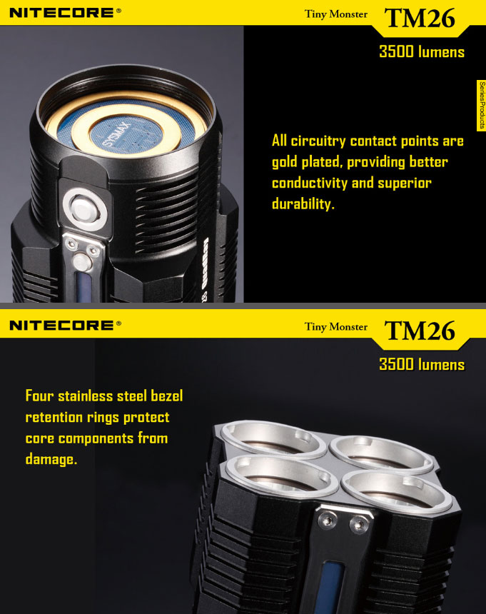 Lampe torche nitecore rechargeable tm26 4000lumens ultra puissante longue port e - Lampe torche puissante longue portee ...