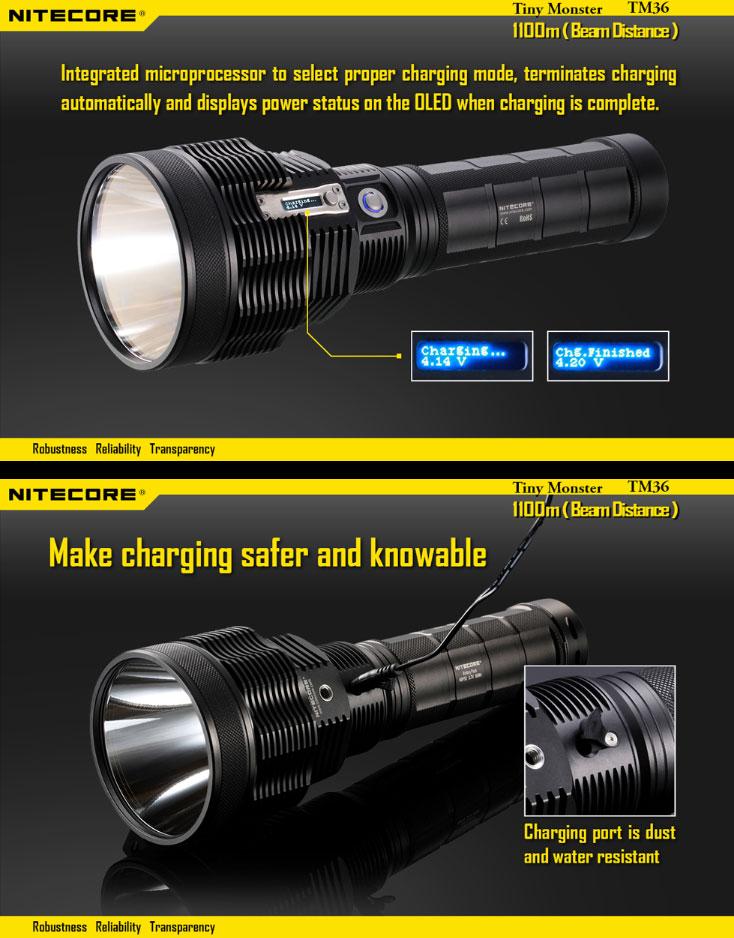 Lampe torche nitecore tm38 1800lumens 1400 m tres de port e - Lampe torche puissante longue portee ...