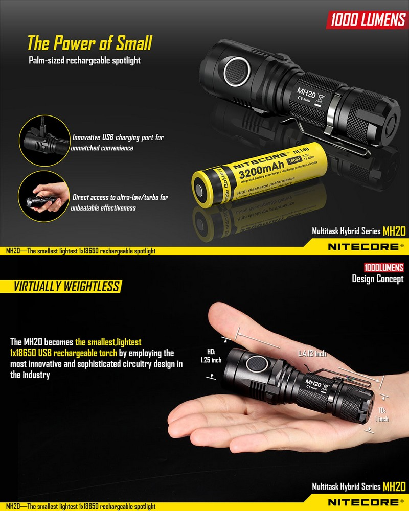 lampe torche nitecore mh20gt 1000lumens rechargeable ultra. Black Bedroom Furniture Sets. Home Design Ideas
