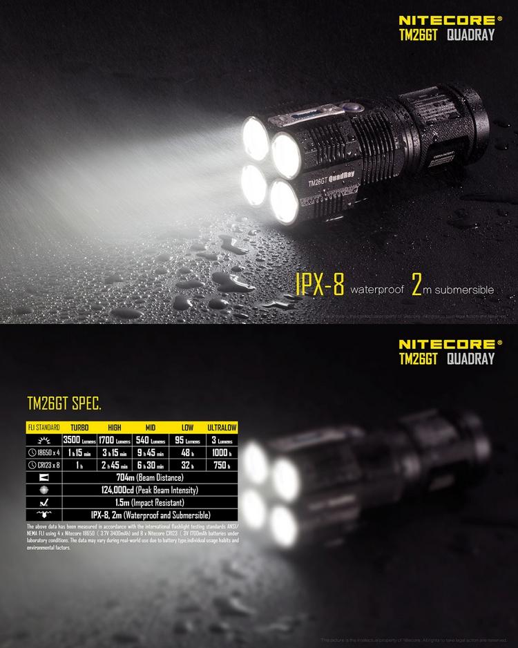 Lampe torche nitecore rechargeable tm26gt 3500lumens ultra puissante longue port e - Lampe torche puissante longue portee ...