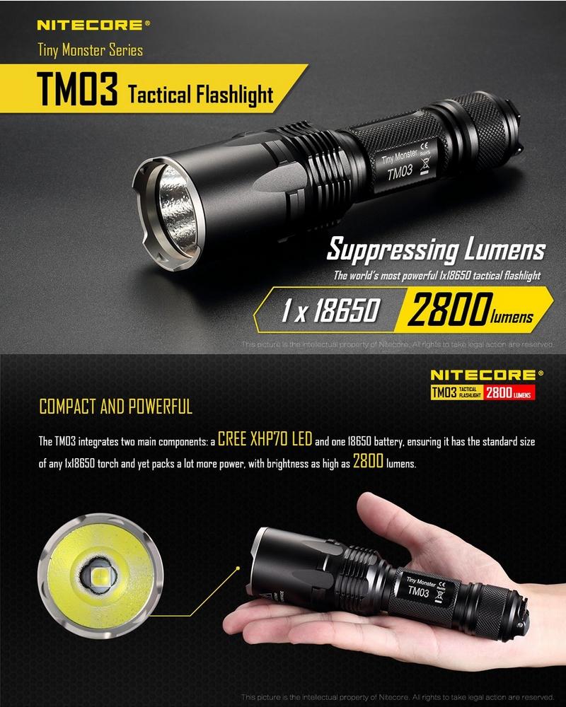 nitecore tm03 2800lumens lampe torche tactique ultra puissante. Black Bedroom Furniture Sets. Home Design Ideas