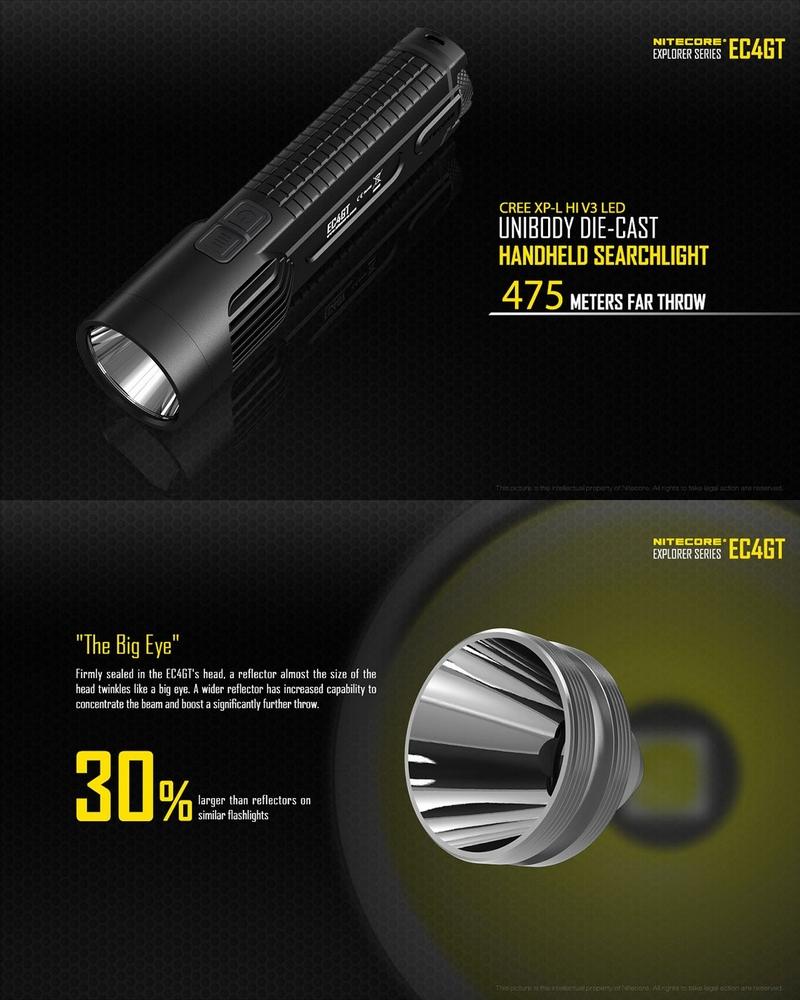 lampe torche nitecore ec4gt 1000lumens longue port e. Black Bedroom Furniture Sets. Home Design Ideas
