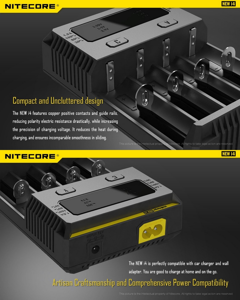 chargeur nitecore intellichargeur new i4 universel intelligent pour batteries li ion imr. Black Bedroom Furniture Sets. Home Design Ideas