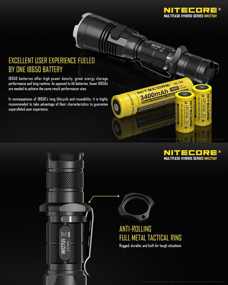 Lampe tactique nitecore mh27uv 1000lumens lampe torche de - Lampe torche longue portee rechargeable ...