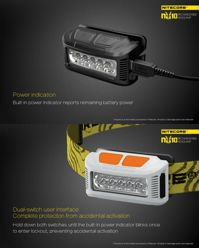 Lampe Frontale Nitecore Nu10 160lumens Rechargeable Faisceau Large