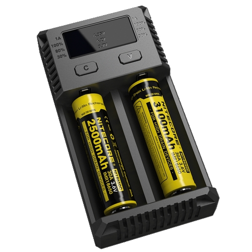 NITECORE i2 Intellicharger Charger For 18650 14500 18350 w// 12v AUTO ADAPTER