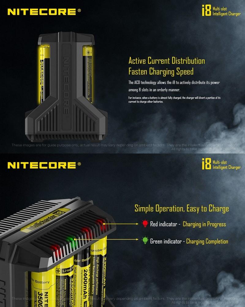 Nitecore i8 chargeur Universel pour 8 batteries